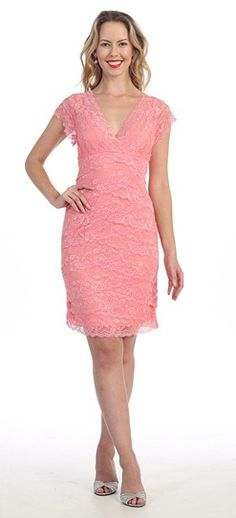 09be7c61a4f Pink V-Neck Cap Sleeve Lace Layered Short Formal Dress - Discountdressup  Store  lace