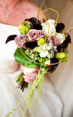 Black calla clilies, roses, hypericum, hydrangea, amaranthus and curly willow bouquet