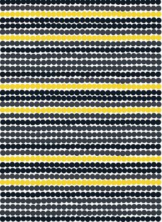 Marimekko's Räsymatto fabric is made of thick cotton and features Maija Louekari's lovely pattern in black, yellow and grey. Räsymatto, Finnish for rag rug, depicts the texture of traditional rag rugs in a delightful manner. Design Textile, Fabric Design, Pattern Design, Fabric Patterns, Print Patterns, Geometric Patterns, Marimekko Fabric, Marimekko Wallpaper, Scandinavian Fabric