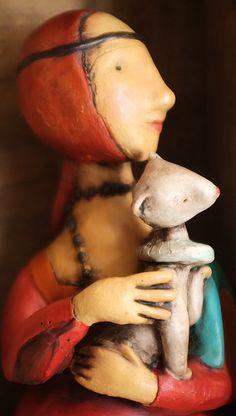 LA DAMA CON L'ERMELLINO- ALTALUNA- paper mache or ceramic