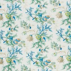 Search Schumacher Fabric Item 178760 name Del Tesoro color name Blue & Green book Schumacher-Classics Collection. Enjoy this popular fabric. Cuttings available online. Fast Shipping We are family owned since Lotus Garden, Luxury Flooring, Blue And Green, Fabric Wallpaper, Coastal Wallpaper, Drapery Fabric, Green Fabric, Designer Pillow, Rugs On Carpet