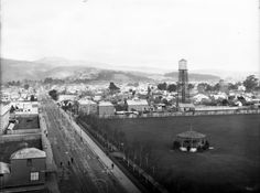 Sydenham, Christchurch, between 1880 and Looks towards the Port Hills and shows Sydenham Park on the right and a band rotunda. The fire stat. Christchurch New Zealand, Paris Skyline, The Past, Street View, Fire, Places, Travel, Lugares, Viajes