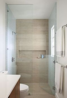 Master bathroom with solid black walnut vanity and porcelain wood floor and shower tile. Built by Jeff King & Company Bathroom Design Small, Bathroom Layout, Bathroom Interior Design, Modern Bathroom, Master Bathroom, Wood Floor Bathroom, Bad Inspiration, Shower Remodel, Bathroom Renovations