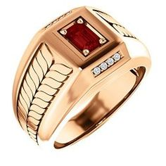 Mens Rings - 14K Rose Gold Man's 6x4 Emerald Cut Mozambique Garnet and Diamond Ring / Mens Rings  Site: Project Fellowship