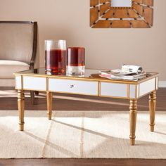 Attrayant Upton Home Champagne Gold Fontaine Mirrored Cocktail/ Coffee Table Furniture  Den