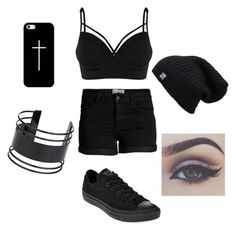 """""""Dark Angel"""" by alexiswoo on Polyvore featuring Pieces, Casetify, Converse and Topshop"""