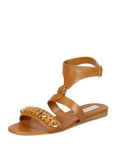 Removable-Cuff Flat Chain Sandal, Cognac by Stella McCartney at Bergdorf Goodman.
