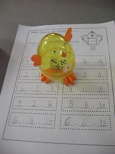 """We shook our chicks, sat them down, and wrote the addition problem on the dice inside."" this is a fun spring math problem, eggs are always on sale so i think this is a great abd fun idea! Math Classroom, Classroom Activities, Classroom Ideas, Preschool Projects, Classroom Projects, Math Stations, Math Centers, Fun Math, Maths"