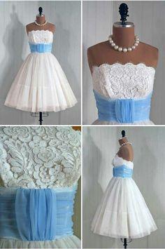 Short white wedding dress with turquoise sash