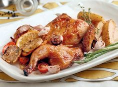 This flavorful roast chicken requires minimal prepping before being baked in the oven.