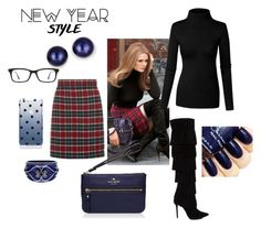 """Street Style in a Plaid Skirt"" by pixikiss ❤ liked on Polyvore featuring Kate Spade, Kevin Jewelers, Ray-Ban, women's clothing, women, female, woman, misses, juniors and StreetChic"