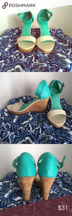 Mint & Cream Ankle Strap Wedges Designed with faux leather upper, open toe, two tone style, single band at vamp, ankle strap with adjustable buckle closure, cork look platform wedge heel, and padded insoles for comfort. 4 inch heel, 1 inch platform. Suuuper cute with sundresses or maxis! Worn only once for a luau. Viviana Shoes Wedges