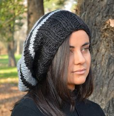 Slouchy beanie hat BLACK & PEARL GREY womens teen by BeanieVille