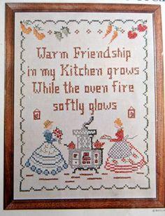 Kitchen Friendship Stamped Cross Stitch #Sampler Kit 100 Linen Bucilla 11 x 14   eBay
