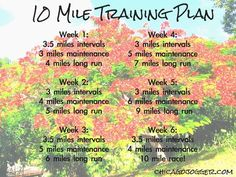 10 Mile Training Plan - an easy 6 week plan for running a 10 mile race… 10 Mile Training Plan, 15k Training, Half Marathon Training, Running Training, Running Humor, Training Equipment, Training Programs, Running On Treadmill, Running Workouts