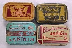 """vintage tins for aspirin that offer """"Realeef"""" Vintage Tins, Vintage Labels, Advertising Signs, Vintage Advertisements, Medicine Packaging, Tin Containers, Vintage Medical, Pill Boxes, Vintage Branding"""