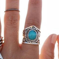 Natural Boho Turquoise Statement Ring in Solid 925 Sterling Silver - donbiujewelry - 2