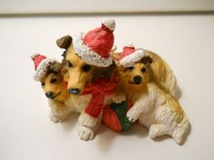 3-Collie Christmas Ornament, Cast Resin Collectible Collies, Vintage Collie Ornament by PiccoloPattys on Etsy