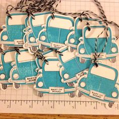 Baby on Board VW gift tags set of 12 w/ baker's twine blue boy Volkswagen car. $6.00, via Etsy.
