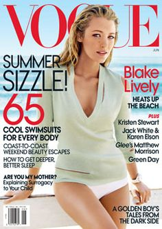Vogue June 2010 Cover -  Michael Kors Mint-Green Cashmere Slashed Top and White Bikini Bottoms, Chanel watch