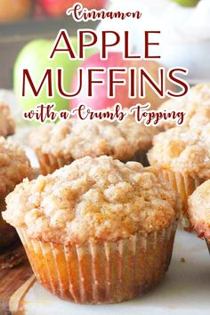 Cinnamon Apple Muffins with a Crumb Topping are the perfect fall breakfast treat! Perfectly tender and fluffy Apple Crumble Muffins, with a crumble topping and a hint of cinnamon. Muffin Recipes, Apple Recipes, Gourmet Recipes, Baking Recipes, Dessert Recipes, Recipes Dinner, Potato Recipes, Pasta Recipes, Crockpot Recipes