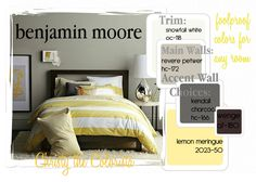 Benjamin moore's Revere Pewter. Hc-172. Fool-proof wall color everytime. Compliment it with oc-118 Snowfall white on the trim and ceilings. Use charcoal gray and yellow as accents!