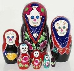 at Amazon Mexican Day of the Dead Matryoshka Dark Blue Colored Wooden Russian Nesting Dollshttp://amzn.to/2b7ZUjZ