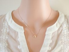 Rose Gold Necklace  Initial Jewelry  Pink Gold  by GlassPoppies