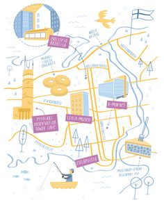 Illustrated map of Tampere, Finland - Tom Woolley Architecture Concept Diagram, Architecture Diagrams, Architecture Portfolio, Doodle Inspiration, Information Design, Best Places To Live, Map Design, Map Art, Graphic Illustration