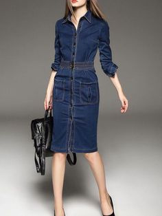 Women's Denim Jackets : Blue V neck Long sleeve Casual Buttoned Denim Midi Dress Blue V neck Long sleeve Casual Buttoned Denim Midi Dress Sharing is caring, don't forget to share ! Denim Midi Dress, Denim Outfit, Jeans Dress, Shirt Dress, Denim Dresses, Fashion Looks, Unique Fashion, Casual Chique, Parisienne Chic
