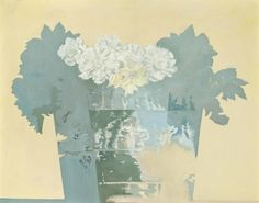 Edward Middleditch (British, 1923-1987), Flowers in blue and yellow, c.1975. Oil on canvas, 92.7 x 116.2 cm.