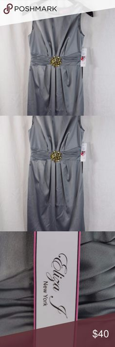 """WOMENS ELIZA J GRAY SEMI-FORMAL DRESS SIZE 2  NWT Measurements ARMPIT TO ARMPIT: LENGTH:  15"""" 34""""  Style:POLYESTER/SPANDEX; ACETATE LINED; SLEEVELESS; BACK ZIPPER; MID-ABDOMEN EMBELLISED WITH LARGE JEWEL TO MAKE A BLOUSON EFFECT WITH THE GOWN. Condition:                                                    BRAND NEW WITH TAGS. SOURCED DIRECTLY FROM AN UPSCALE US RETAILER. Eliza J Dresses"""