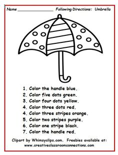 Umbrella worksheet with simple directions provides students practice reading number and color words. You can see more under the freebies tab at: www. Language Activities, Therapy Activities, Learning Activities, Teaching Resources, Speech Language Therapy, Speech And Language, Speech Therapy, Play Therapy, Following Directions Activities