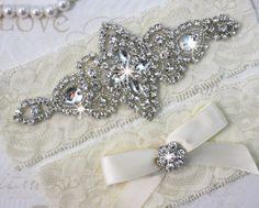 SALE  CHLOE  Wedding Garter Set Wedding Ivory by HannabellaDesigns, $23.95