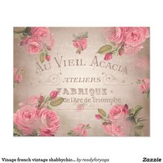 """french vintage shabbychic roses pink floral 4.5"""" x 5.6"""" flyer"""