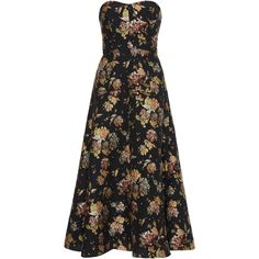 Rochas Strapless Brocade Dress (€2.400) ❤ liked on Polyvore featuring dresses, rochas, black, sweetheart neckline dress, strapless cocktail dresses, full skirts and sweetheart neckline strapless dress