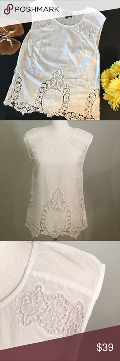 "Cynthia Rowley white embroidered eyelet blouse Cynthia Rowley white cotton embroidered eyelet sleeveless blouse. 100% soft, breathable white cotton sleeveless top. Scoop neckline. Darts at bust for flattering silhouette. Embroidered eyelet floral design on shoulders. Beautiful floral/ mandala style embroidered eyelet crochet design hem. Size small. EUC, excellent used condition. Measurements taken laid flat. 17 ½"" bust, 25 ½"" length. Cynthia Rowley Tops Blouses"