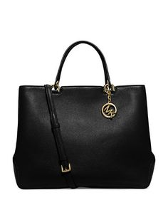 61482fab0f629d Michael Kors Anabelle Extra Large Black Leather Tote  428 Michael Kors Bag