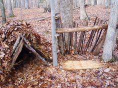 How to build a lean-to shelter:  Some good tips here...however, I find this part of surviving very ho-hum BORING.  I do declare that if I ever get stranded somewhere there better be some boys around to do this part.  I don't mind fishing and trying to start a fire, but this building garbage is BLECHY and tedious.  I'll crochet the slippers for the adventure!