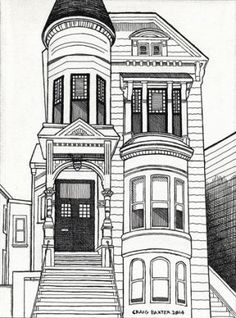 pen and ink victorian houses san francisco black white - Google Search