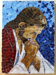 Jesus Praying: Mosaic Art by AVglass artItems similar to Jesus Praying Mosaic on Etsy Mosaic Glass, Mosaic Tiles, Mosaic Wall, Glass Art, Stained Glass, Catholic Art, Religious Art, Mosaic Projects, Art Projects