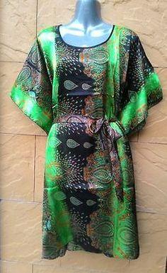 3X Plus Size Silky Satin Short Kimono Kaftan Caftan Top Dress for Casual Party