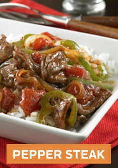Please every member of your family with this Pepper Steak recipe! Serve over hot cooked rice and dinner is ready.