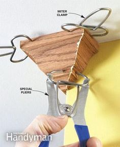 Molding Tip: Use miter clamps - special clamps hold miters together until the glue dries