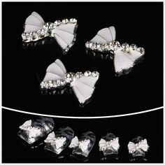 So Beauty 100pcs White Bling Bowknot 3D Rhinestone Alloy Nail Art DIY Nail Decoration ** You can get additional details at the image link.