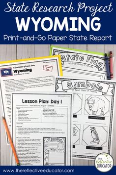 State Research Project | WYOMING Print-and-Go Paper State Report is a fun and easy state report project for upper elementary students. This easy-to-use resource includes links to safe reference websites and step-by-step lesson plans to get your students started with an online research project. Students research symbols, the flag, geography, and history. It is fun and easy! Buy State Research Project | WYOMING Print-and-Go Paper State Report and take the stress out of planning your lessons. Key Projects, Research Projects, 4th Grade Social Studies, Upper Elementary, Wyoming, Geography, Missouri, Lesson Plans, Stress