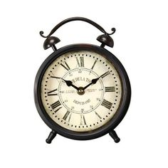 Vintage-Inspired Roman Numerals Alarm Wall Hanging or Table Top Clock