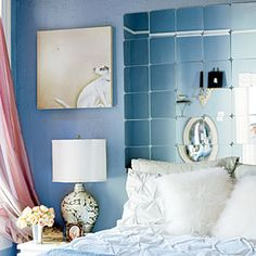 "Fun ways to decorate with mirrors | Bedroom of reflection | Sunset.com--""four-packs of miniature Sorli mirror tiles from Ikea ($4.99)"""