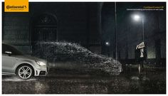 Continental tires: Unmatched braking performance on wet roads. - Advertising - Car, Tires, Rain, Wet, Road, Photo manipulation
