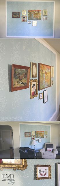 DIY Framed Wallpaper. Adding color to the walls without paint! via: http://thepapermama.com/2012/08/made-it-framed-wallpaper.html